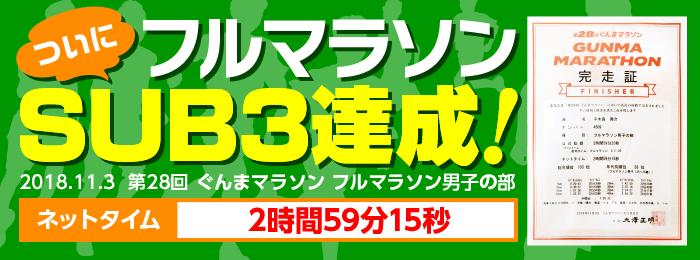 ひかり接骨院院長マラソンSUB3達成